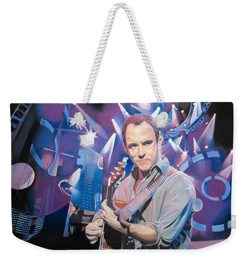 Dave Matthews Weekender Tote Bag featuring the drawing Dave Matthews And 2007 Lights by Joshua Morton