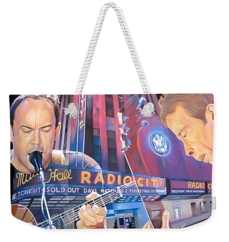 Dave Matthews Weekender Tote Bag featuring the drawing Dave Matthews And Tim Reynolds At Radio City by Joshua Morton