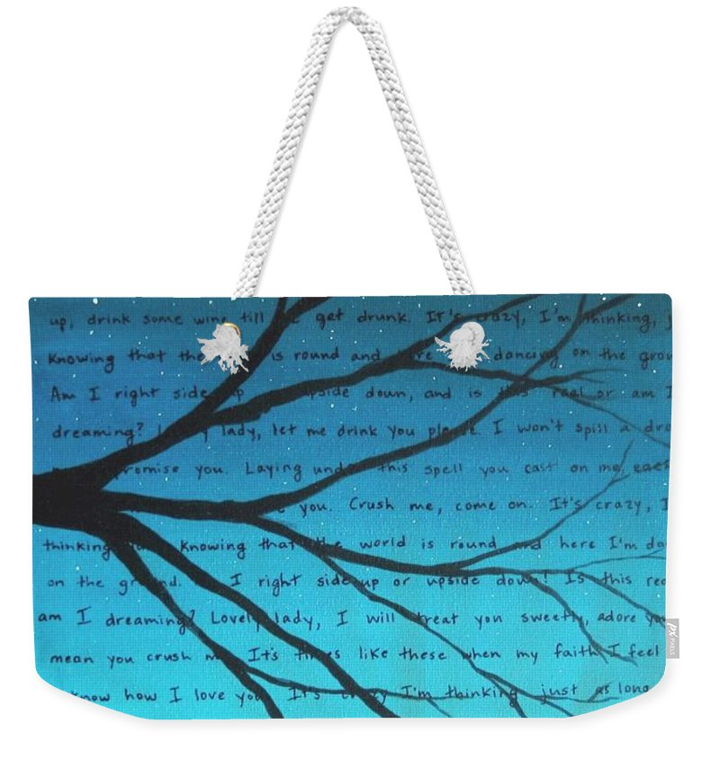 Dave Matthews Band Weekender Tote Bag featuring the painting Dave Matthews Band Crush Lyric Art - Blue by Michelle Eshleman