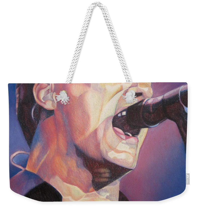 Dave Matthews Weekender Tote Bag featuring the drawing Dave Matthews Colorful Full Band Series by Joshua Morton