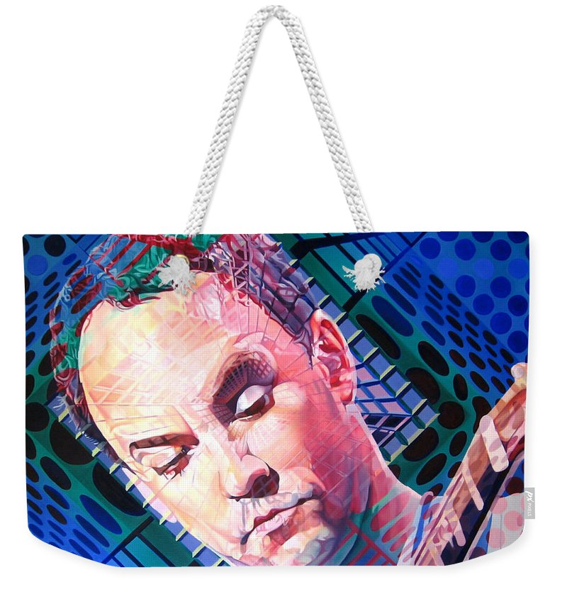 Dave Matthews Weekender Tote Bag featuring the painting Dave Matthews Open Up My Head by Joshua Morton