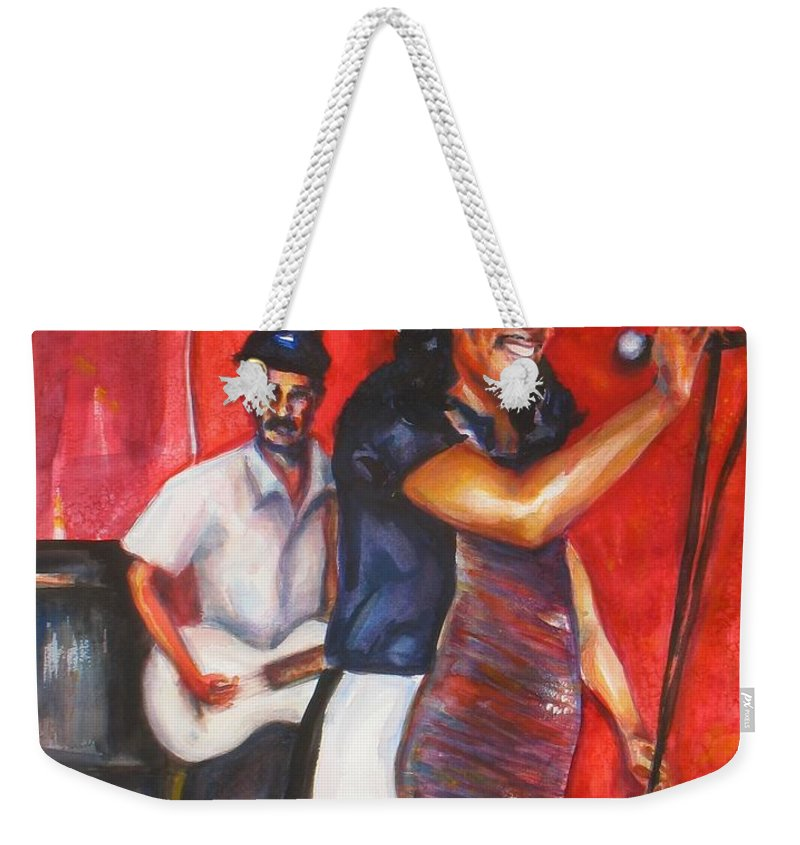 Watercolor Weekender Tote Bag featuring the painting David And Buck by Beverly Boulet