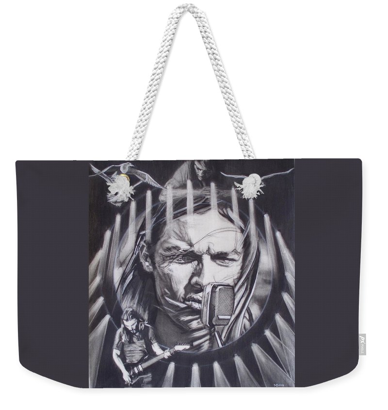 Charcoal On Paper Weekender Tote Bag featuring the drawing David Gilmour Of Pink Floyd - Echoes by Sean Connolly