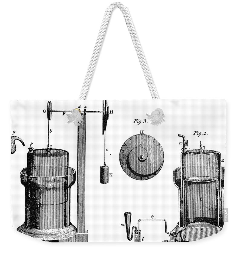 1800 Weekender Tote Bag featuring the photograph Davy: Gas Machine, 1800 by Granger