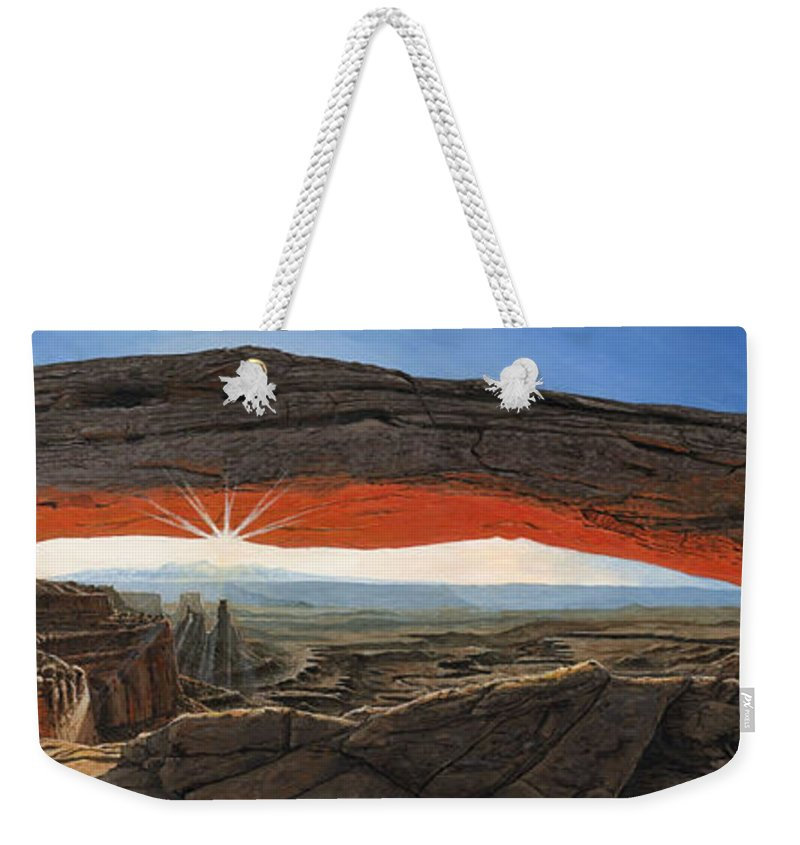 Mesa Arch Weekender Tote Bag featuring the painting Dawn At Mesa Arch Canyonlands Utah by Richard Harpum