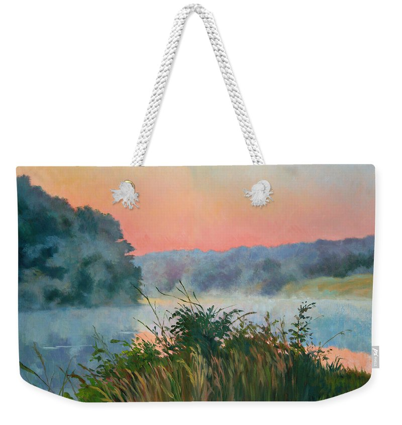 Impressionism Weekender Tote Bag featuring the painting Dawn Reflection by Keith Burgess
