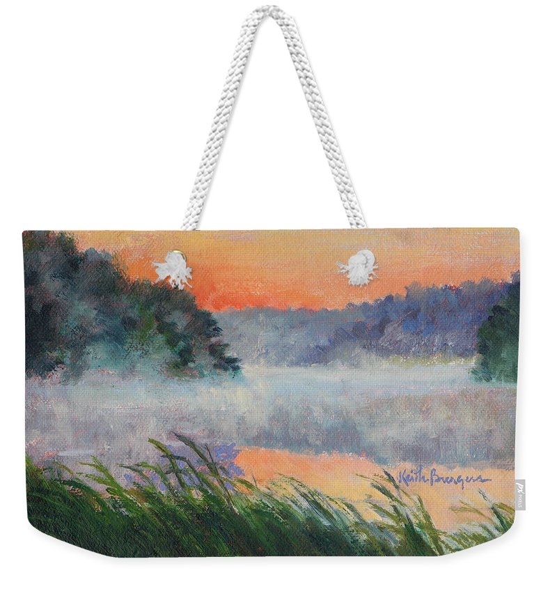Impressionism Weekender Tote Bag featuring the painting Dawn Reflection Study by Keith Burgess