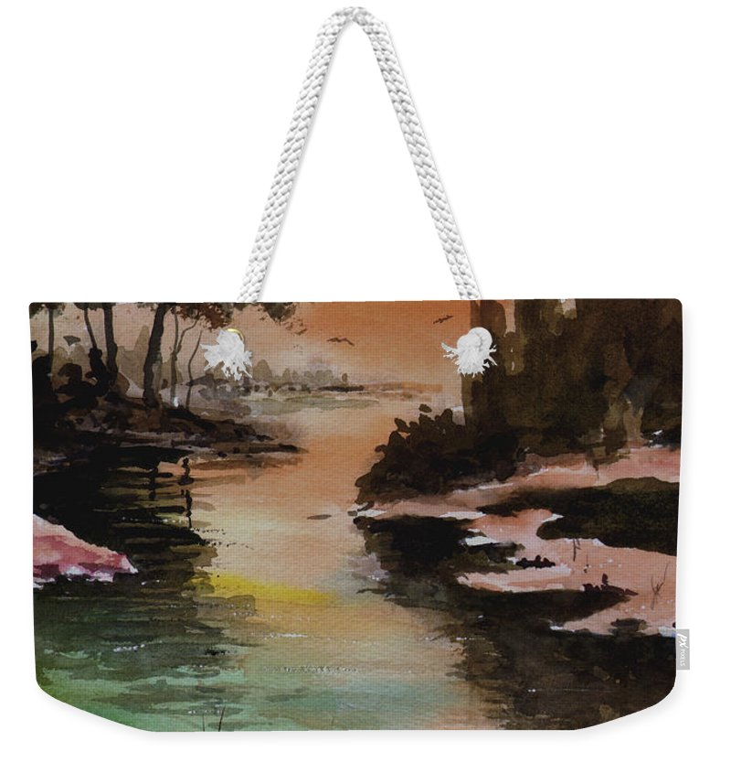 Snow Weekender Tote Bag featuring the painting Dawn Snow On A Sunny Morning by Sam Sidders