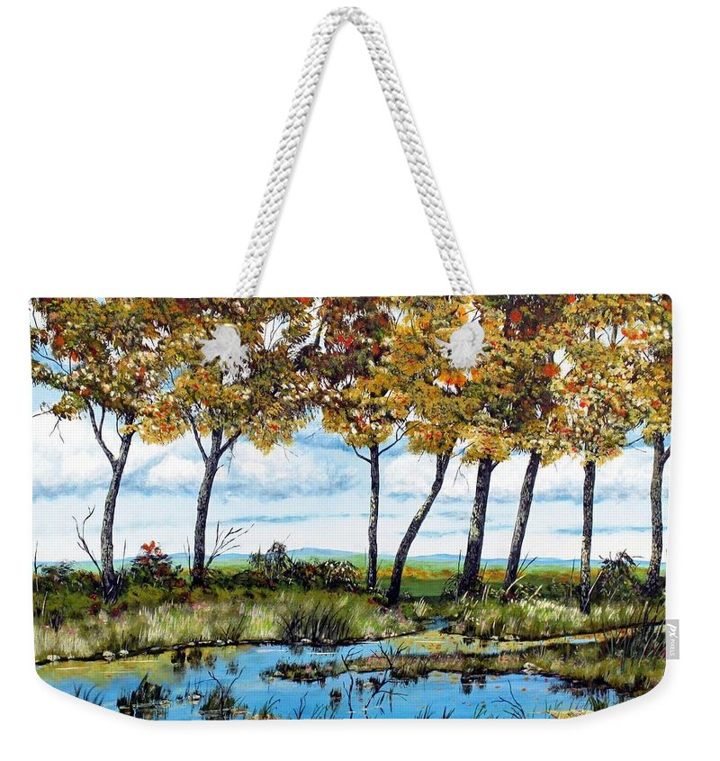 Shallow Creek Weekender Tote Bag featuring the painting Dawn's Blue Waters Edge by Michael Dillon