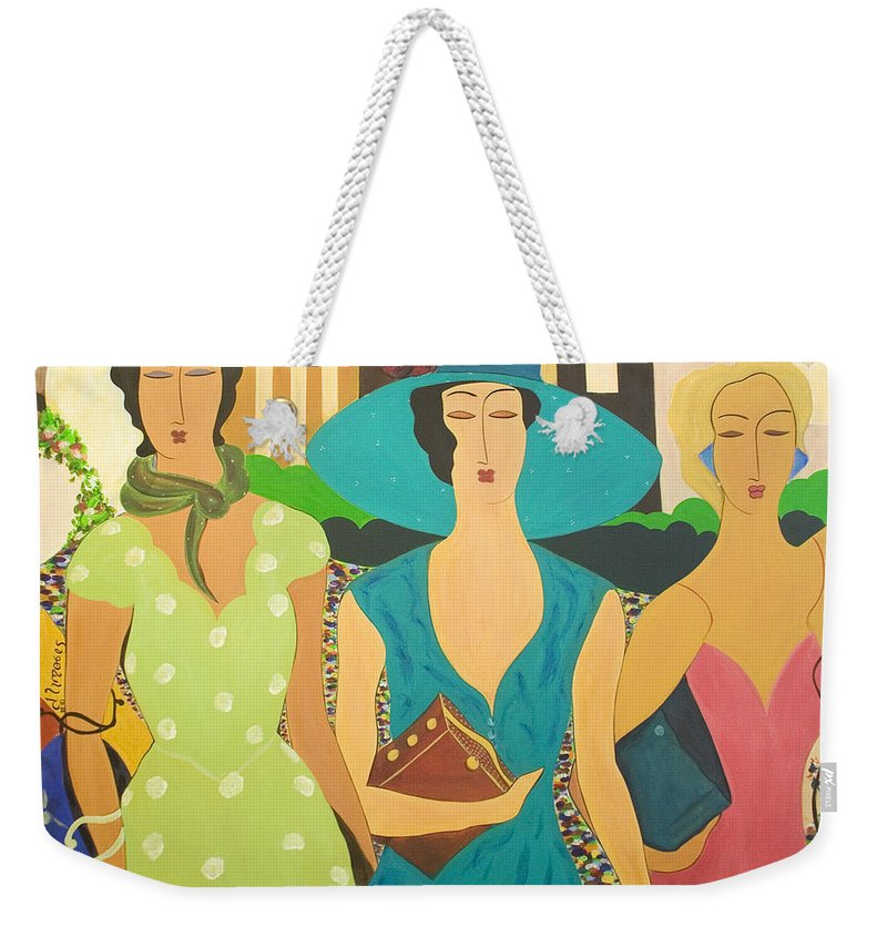 #fashion Weekender Tote Bag featuring the painting Daybreak by Jacquelinemari