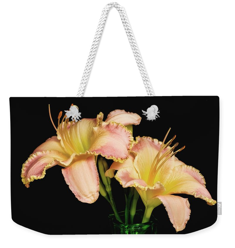 Bloom Weekender Tote Bag featuring the photograph Daylily Pair by David and Carol Kelly