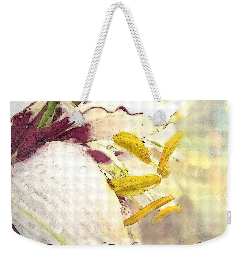 Nature Weekender Tote Bag featuring the photograph Daylily Photoart With Verse by Debbie Portwood