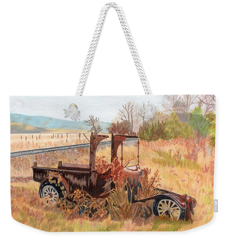 Old Car Weekender Tote Bag featuring the painting Days Gone Bye by Gail Seufferlein