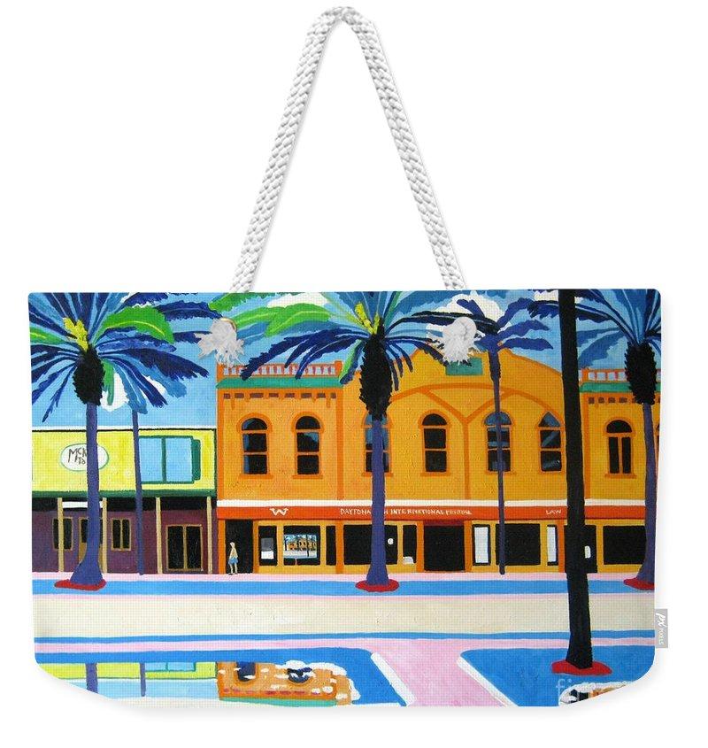Irish Weekender Tote Bag featuring the painting Mckays Irish Pub Daytona Florida by Lesley Giles