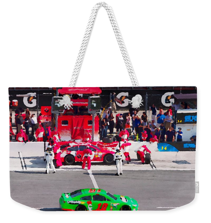 Daytona Speedway Weekender Tote Bag featuring the photograph Daytona Speedway Race View by Alice Gipson
