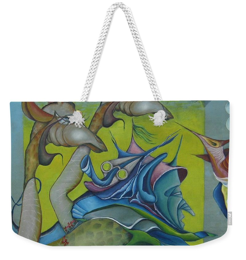 Animals Weekender Tote Bag featuring the painting The Circle by Bob Ivens