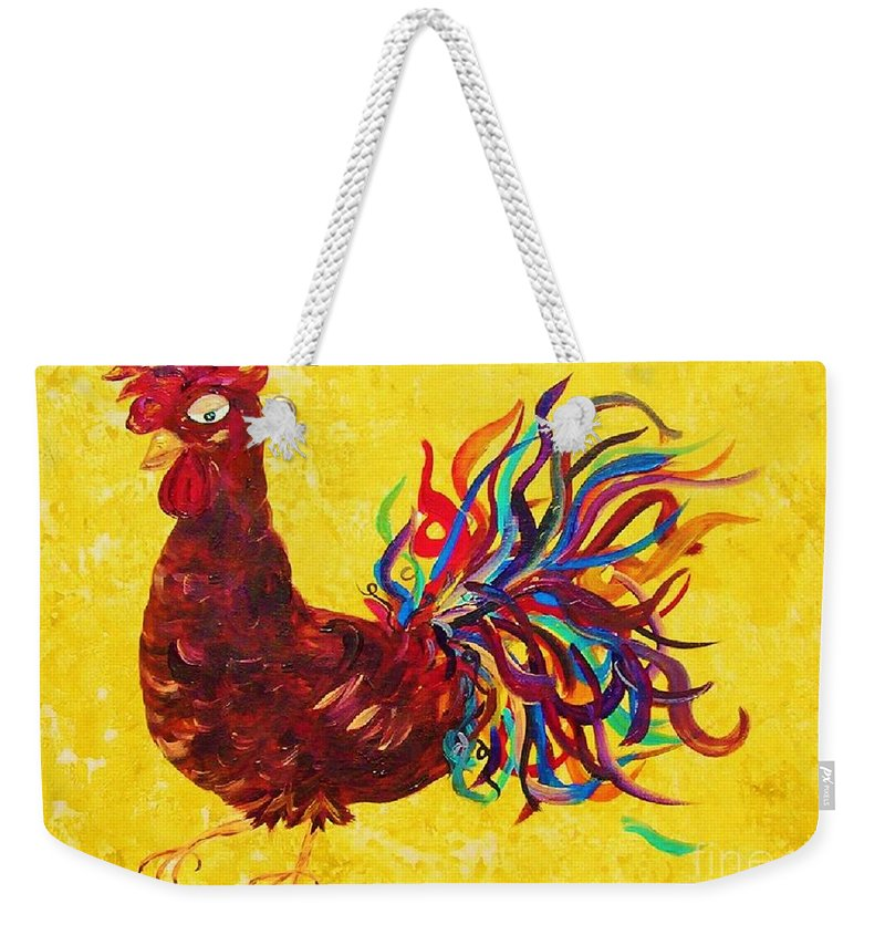 Rooster Weekender Tote Bag featuring the painting De Colores Rooster by Eloise Schneider Mote