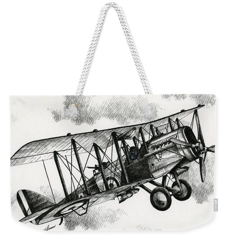 Airplane Art Weekender Tote Bag featuring the drawing De Havilland Airco Dh.4 by James Williamson