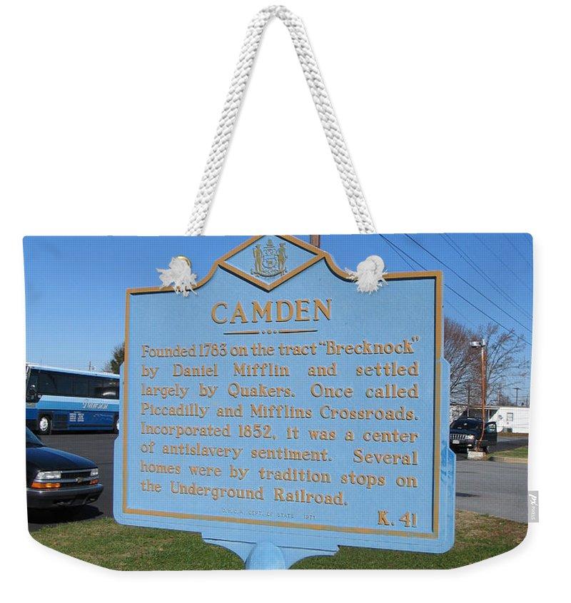 Historic Marker Weekender Tote Bag featuring the photograph De-kc41 Camden by Jason O Watson
