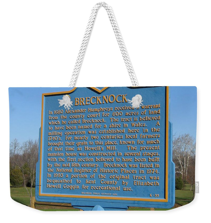 Historic Marker Weekender Tote Bag featuring the photograph De-kc55 Brecknock by Jason O Watson