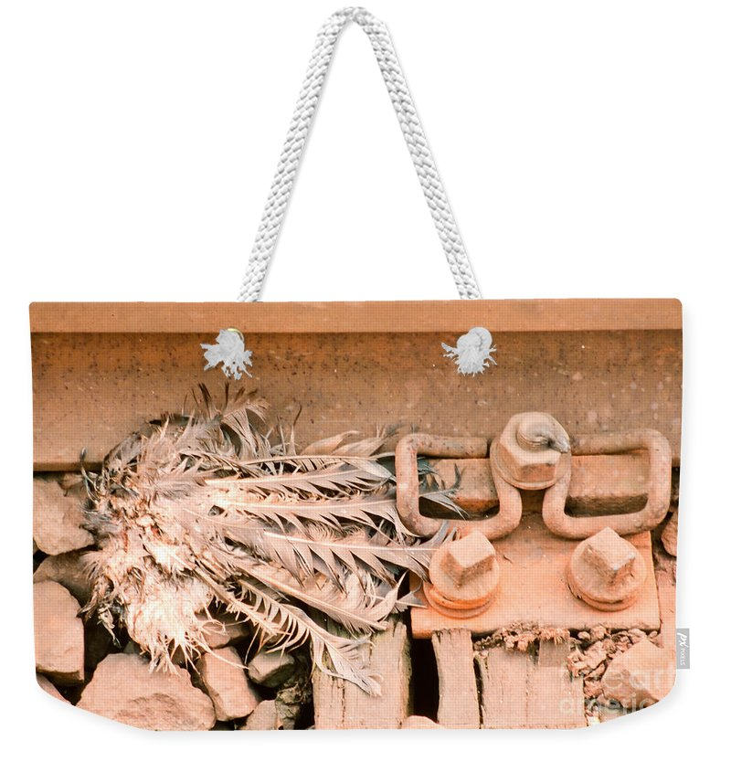 Pigeon Weekender Tote Bag featuring the photograph Dead Dove Decomposing In Railway Track by Stephan Pietzko