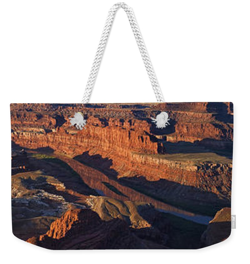 Dead Horse Point Weekender Tote Bag featuring the photograph Dead Horse Point Sunrise Panorama by Mark Kiver