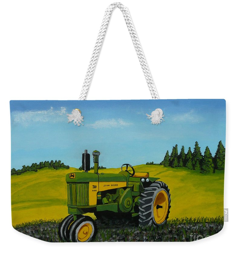 John Deere Weekender Tote Bag featuring the painting Dear John by Anthony Dunphy
