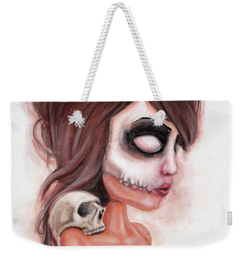 Pop Surrealism Weekender Tote Bag featuring the painting Deathlike Skull Impression by Rouble Rust