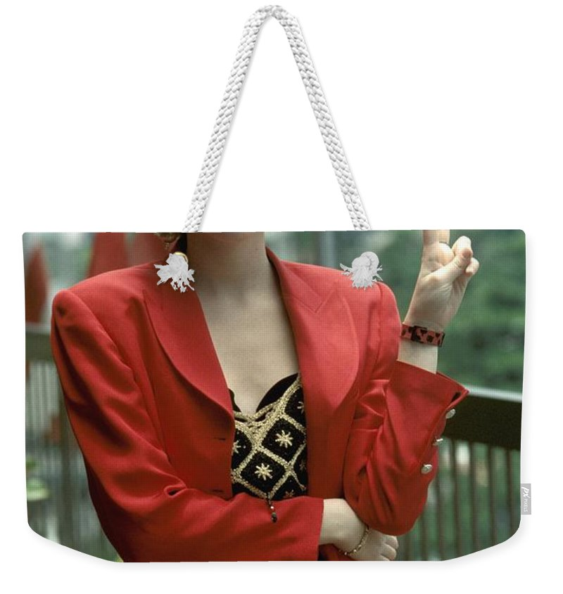 Dance Pop Weekender Tote Bag featuring the photograph Debbie Gibson by Concert Photos