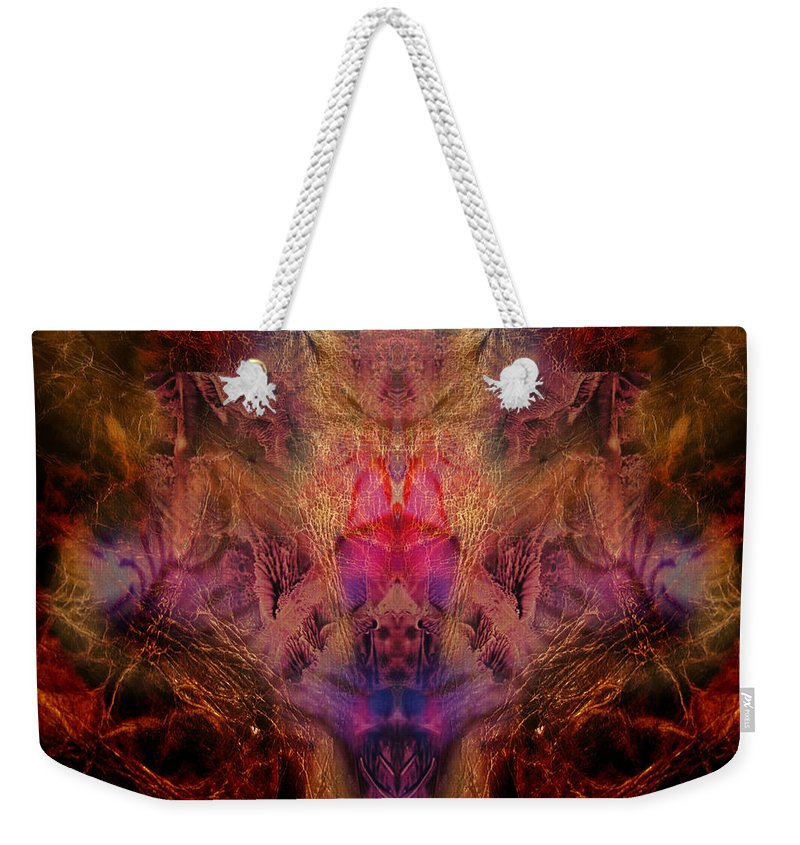 Digital Weekender Tote Bag featuring the digital art Decalcomaniac Mirror by Otto Rapp