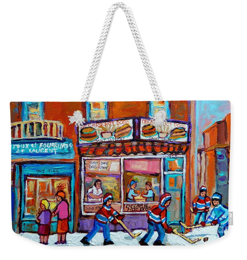 Montreal Weekender Tote Bag featuring the painting Decarie Hot Dog Restaurant Ville St. Laurent Montreal by Carole Spandau