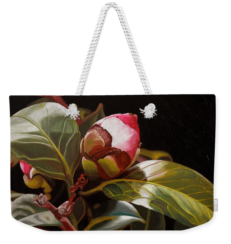 Rose Weekender Tote Bag featuring the painting December Rose by Thu Nguyen