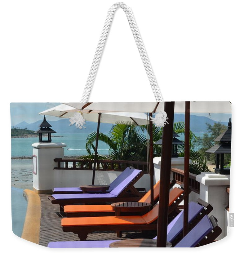 Michelle Meenawong Weekender Tote Bag featuring the photograph Deckchairs by Michelle Meenawong