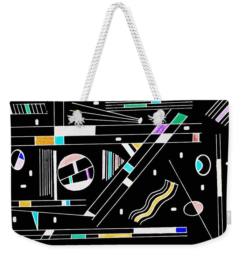 Deco Weekender Tote Bag featuring the mixed media Deco 1 Version 2 by Mary Bedy