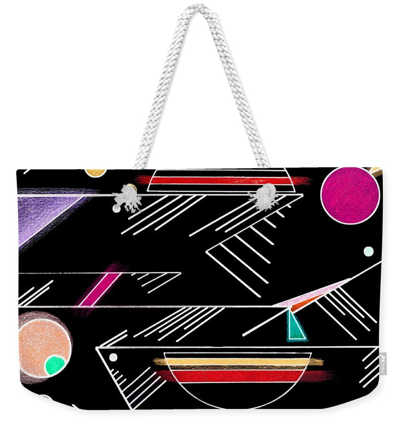 Deco Weekender Tote Bag featuring the mixed media Deco 10 Version 2 by Mary Bedy