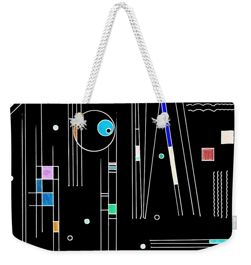Deco Weekender Tote Bag featuring the mixed media Deco 3 Version 2 by Mary Bedy