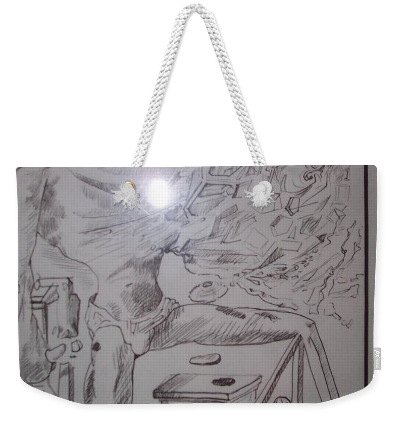 Weekender Tote Bag featuring the painting Decomposition Of Kneeling Man by Jude Darrien
