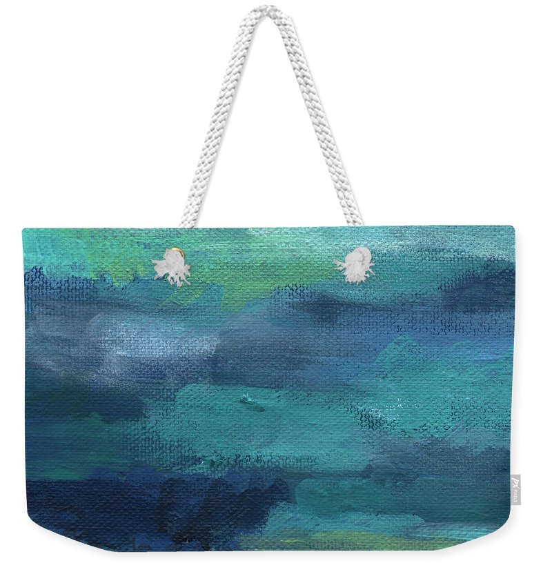 Blue Weekender Tote Bag featuring the painting Tranquility- abstract painting by Linda Woods