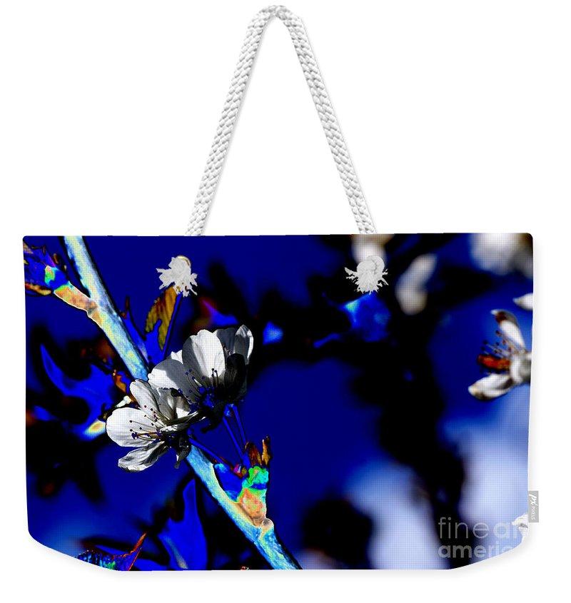 Flowers Weekender Tote Bag featuring the digital art Deep Blue by Carol Lynch