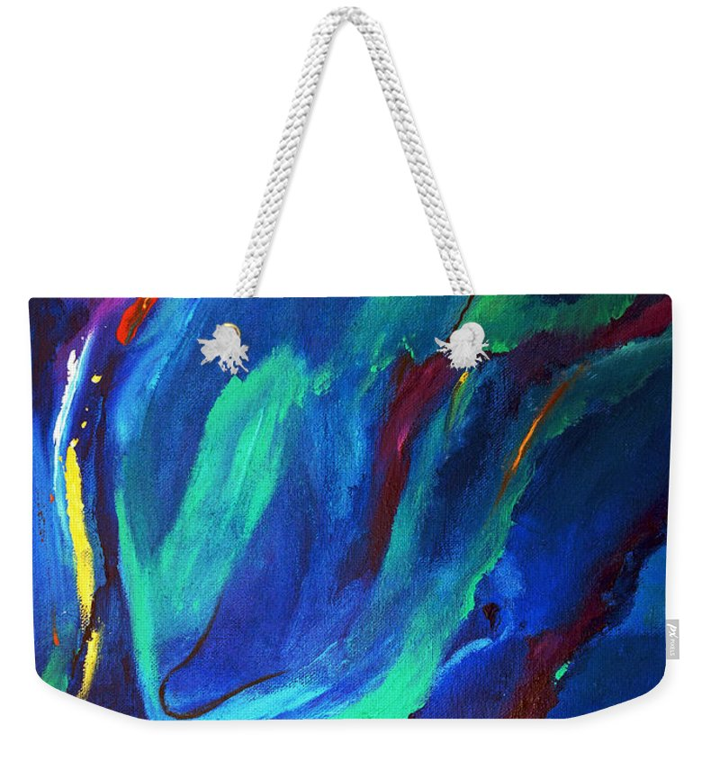 Abstract Weekender Tote Bag featuring the painting Deep Blue Thoughts by Ruth Palmer