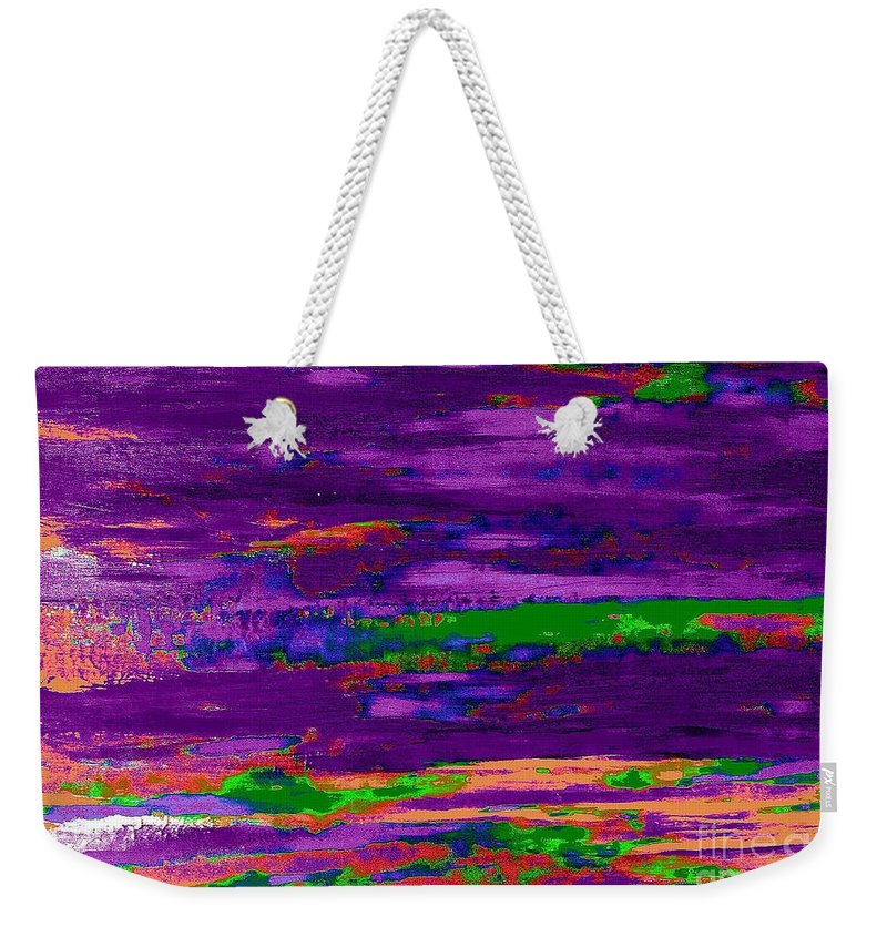 Abstract Weekender Tote Bag featuring the painting Deep Purple Horizontal by Saundra Myles