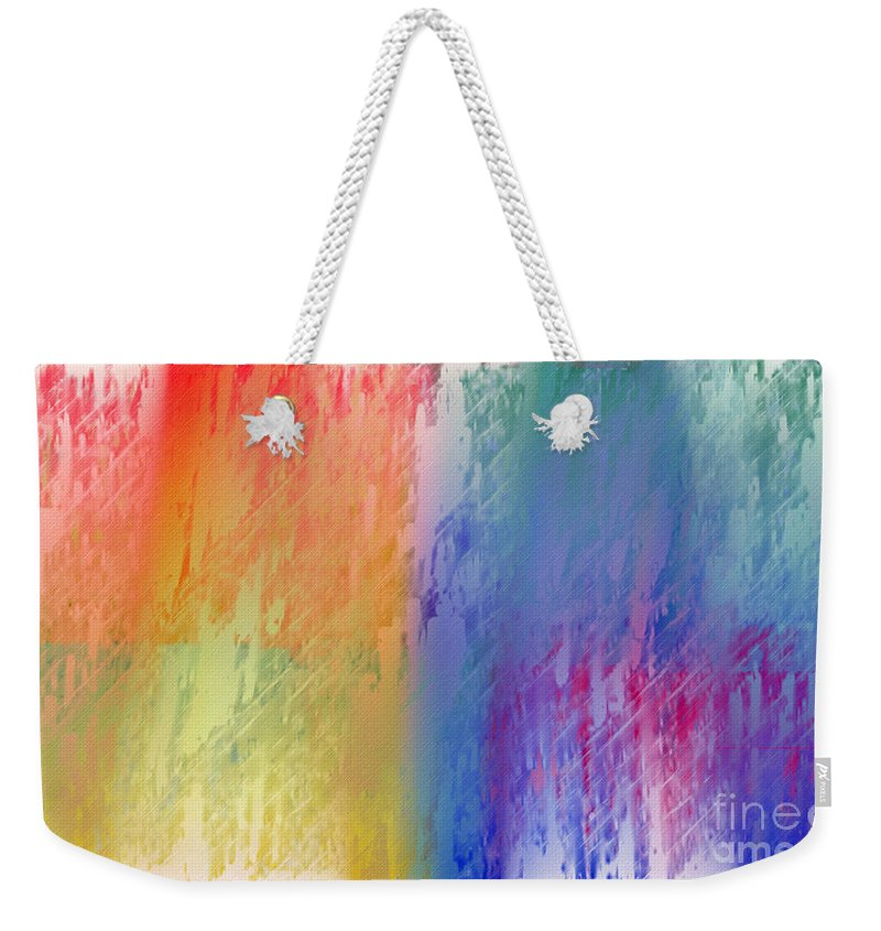 Abstract Weekender Tote Bag featuring the digital art Deep Rich Sherbet Abstract by Andee Design