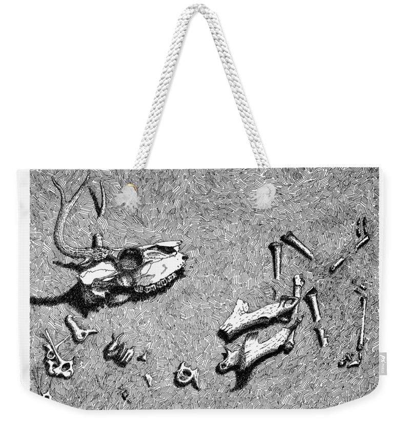 Nature Weekender Tote Bag featuring the drawing Deer Bones by Daniel Reed