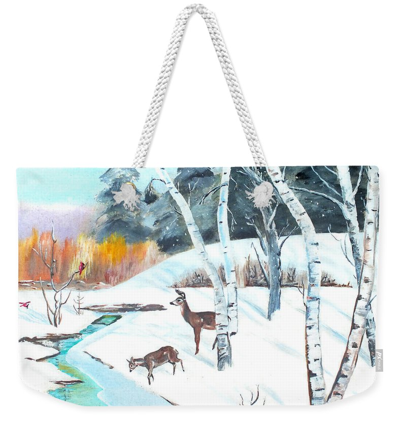 Cgris Mccullough Weekender Tote Bag featuring the painting Deer Creek In Winter by Chris McCullough