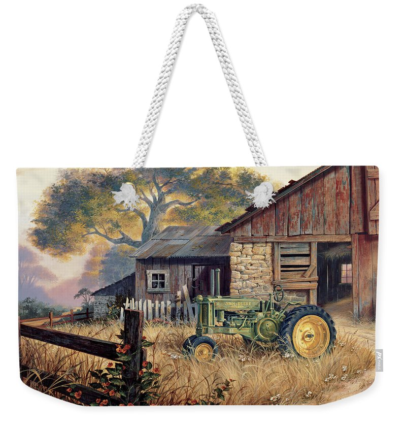 Landscape Weekender Tote Bag featuring the painting Deere Country by Michael Humphries