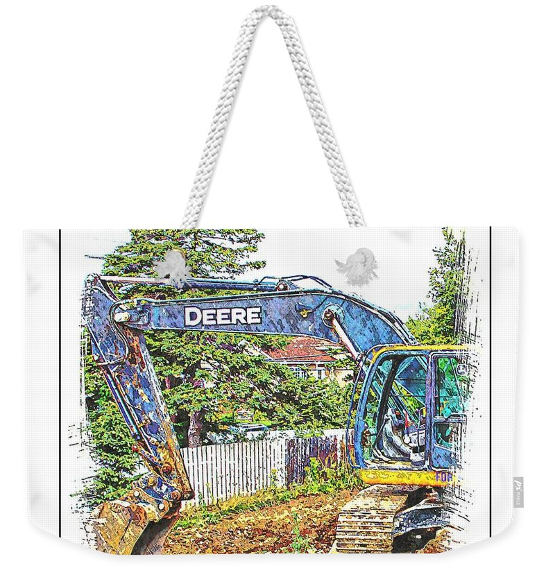 Deere For Hire Weekender Tote Bag featuring the photograph Deere For Hire2 - Excavator - Digger by Barbara Griffin
