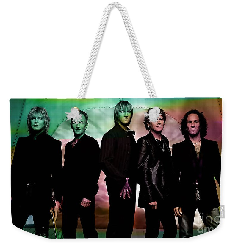 Def Leppard Photographs Weekender Tote Bag featuring the mixed media Def Leppard by Marvin Blaine