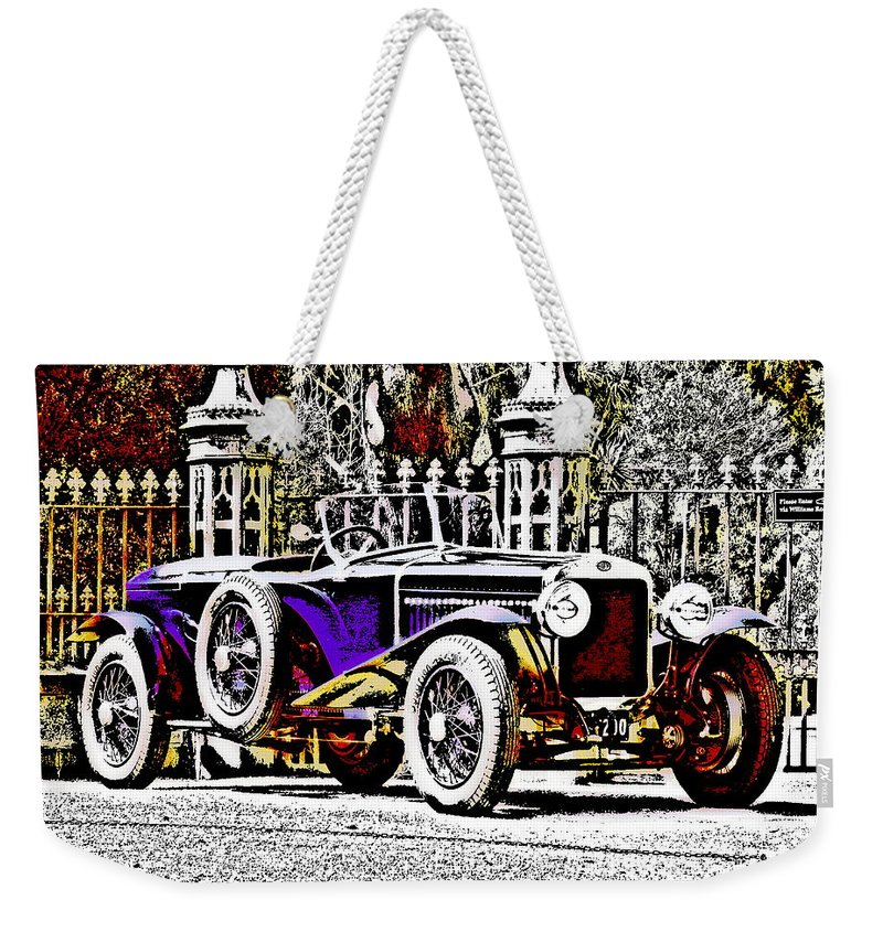 Car Weekender Tote Bag featuring the photograph Delage Co2 Dupla Cowl Tourer by Lyriel Lyra