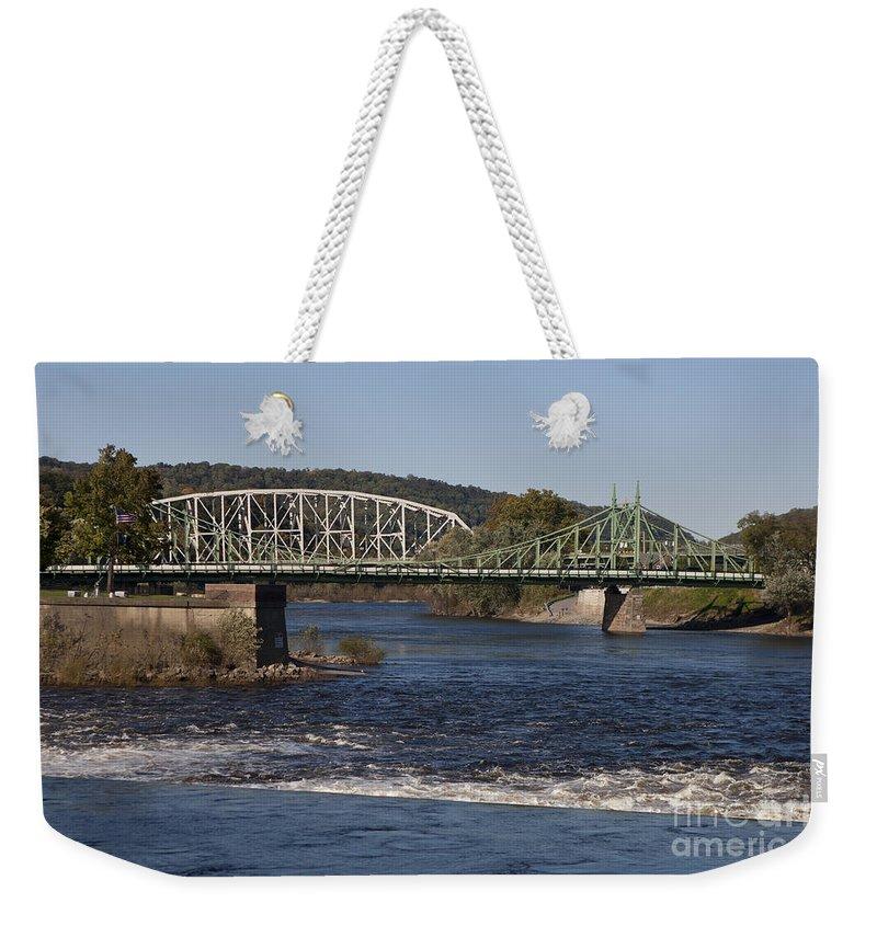 Northampton Street Bridge Weekender Tote Bag featuring the photograph Delaware River Easton Pennsylvania by Jason O Watson