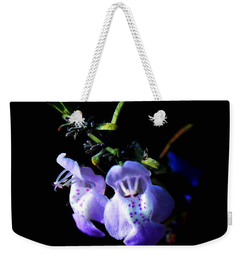 Flower Weekender Tote Bag featuring the photograph Delicately Purple by Debra Forand